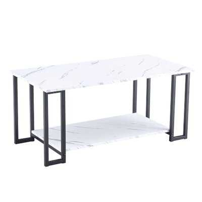 "Thick Marble MDF Rectangle 39.37"" L Tabletop Iron Coffee Table Black - Wayfair"