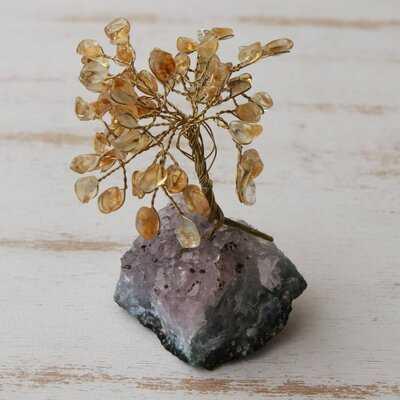 Lemon Leaves Citrine Mini Gemstone Sculpture - Wayfair