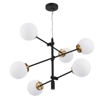 Merra 6-Light Black and Antique Brass Sputnik Chandelier with White Opal Glass Shades - Home Depot