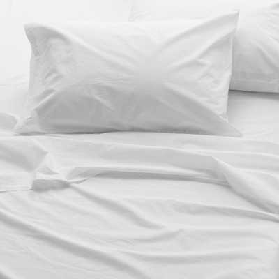 WELHOME The Super Soft Washed Cotton Percale White Queen Sheet Set - Home Depot