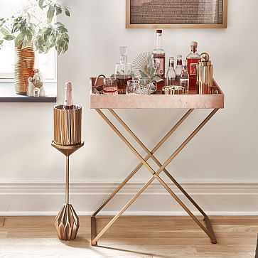 Butler Bar Cart Set, Antique Brass Stand + Rose Gold Lacquer Wood Tray - West Elm