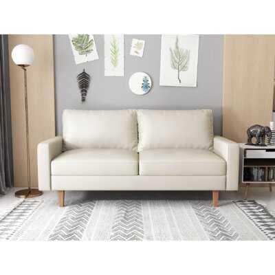 """Mehvec 69.7"""" Wide Faux Leather Square Arm Sofa - Wayfair"""
