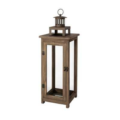 Hampton Bay 21 in. Wood and Metal Outdoor Patio Lantern, Antique Brown - Home Depot