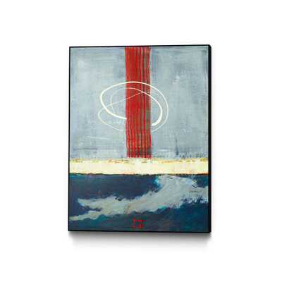 """CLICART """"Flicit""""by Jacques Clement Framed Abstract Wall Art Print 30 in. x 40 in., blue/ red - Home Depot"""