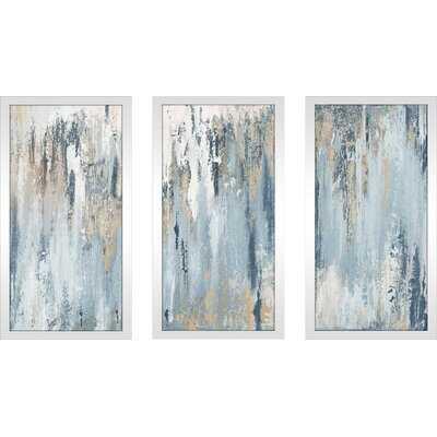 'Blue Illusion' - 3 Piece Picture Frame Painting Print Set on Plastic - Wayfair