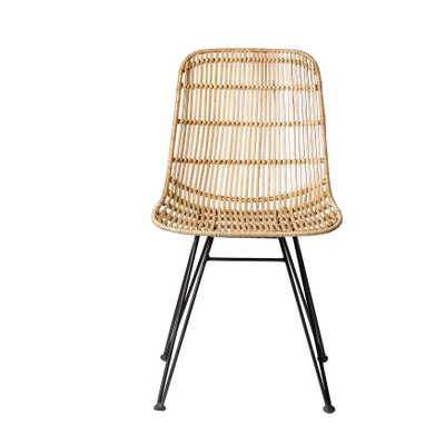 Braided Beige Rattan Chair with Black Metal Frame - Moss & Wilder