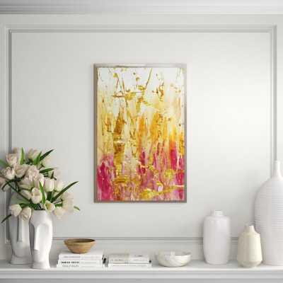 """Chelsea Art Studio 'Lucid Flows I (Gold Embellishment)' Framed Print Format: Hand Embellished, Size: 60"""" H x 40"""" W - Perigold"""