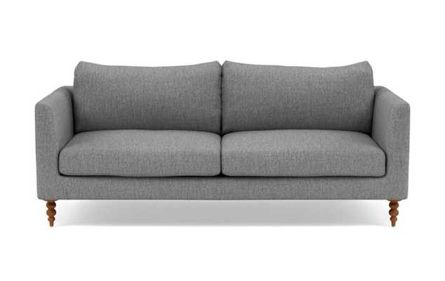 Owens Loveseats with Grey Plow Fabric, down alternative cushions, and Oiled Walnut legs - Interior Define