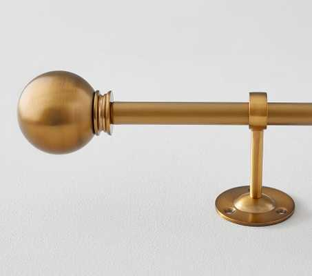 "Metal Rod : 48-88"" & Round Finial Set, Brushed Gold - Pottery Barn Kids"