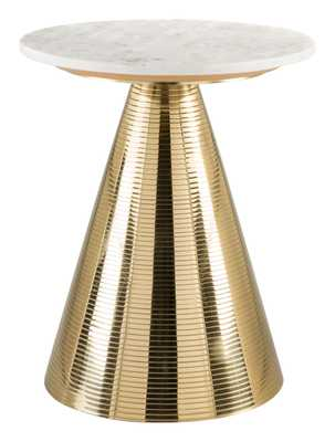 Pure Side Table White & Gold - Zuri Studios