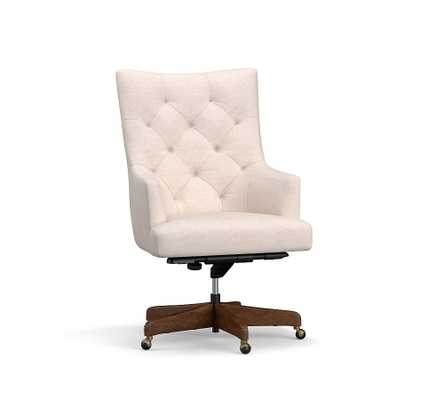 Radcliffe Tufted Upholstered Swivel Desk Chair, Rustic Brown Base - Pottery Barn