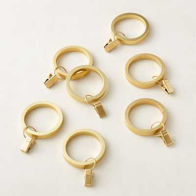 Brushed Brass Curtain Clips Set of 7 - CB2