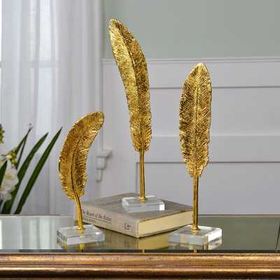 Uttermost Feathers Metallic Gold Sculptures Set of 3 - Style # 88F00 - Lamps Plus