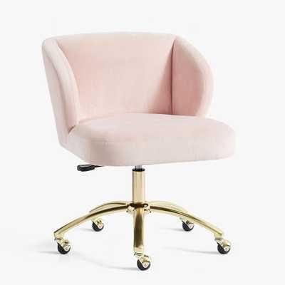 Performance Everyday Velvet Rose Wingback Swivel Desk Chair, In-Home Delivery - Pottery Barn Teen