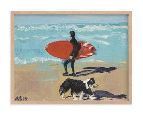 Dog Beach Carmel; Surfer With Dog Children's Art Print - Minted