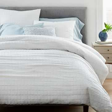 Clipped Jacquard Squares Duvet, Full/Queen, Stone White - West Elm