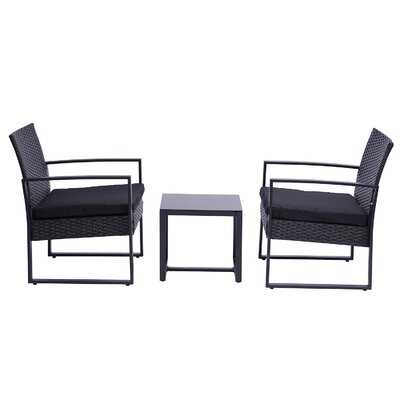 3 Pieces Patio Set Outdoor Wicker Patio Furniture Sets Modern Set Rattan Chair Conversation Sets With Coffee Table For Yard And Bistro - Wayfair