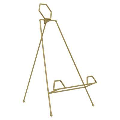 THREE HANDS Folding Easel and Plate Stand in Gold Metal 11in L x 12in W x 18in H - Home Depot