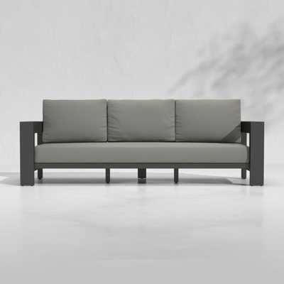 Walker Outdoor Metal Sofa with Graphite Sunbrella ® Cushions - Crate and Barrel