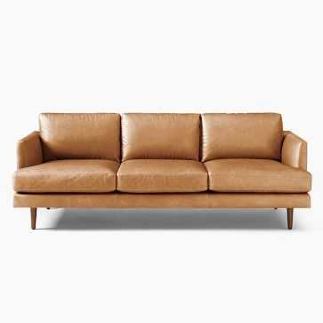 "Haven Loft 86"" Sofa, Ludlow Leather, Sesame, Pecan - West Elm"
