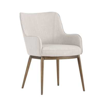 Irongate Franklin Upholstered Dining Chair Upholstery Color: Beige, Leg Color: Antique Brass - Perigold
