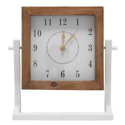 Stratton Home Decor Gavin Square Tabletop Clock, Natural/White - Home Depot