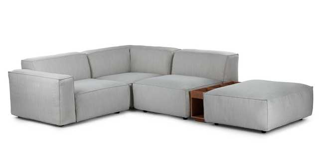 Solae Hush Gray / Walnut Left Arm Corner Sectional - Article