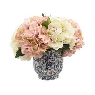 Aahil Hydrangea Floral Arrangement in Pot - Birch Lane
