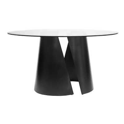 "Worlds Away Dining Table Color: Nickel, Size: 30"" H x 48"" L x 48"" W, Table Base Color: Black Powder Coat - Perigold"