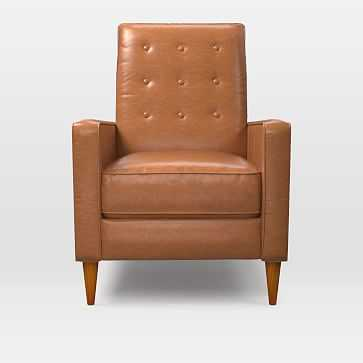 Rhys Midcentury Recliner, Poly, Vegan Leather, Saddle, Pecan - West Elm