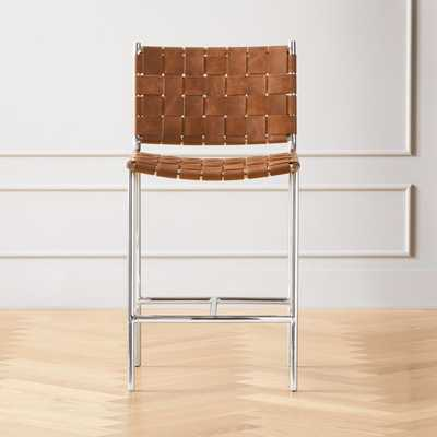"""Woven 24"""" Brown Leather Counter Stool - CB2"""
