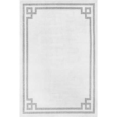 nuLOOM Imani Classic Border Gray 6 ft. 7 in. x 9 ft. Area Rug - Home Depot