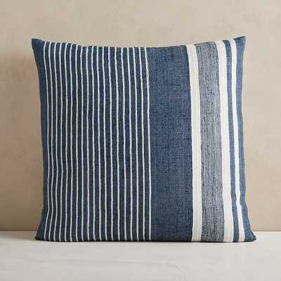 """Silk Variegated Stripe Pillow Cover, 24""""x24"""", Midnight, Set of 2 - West Elm"""