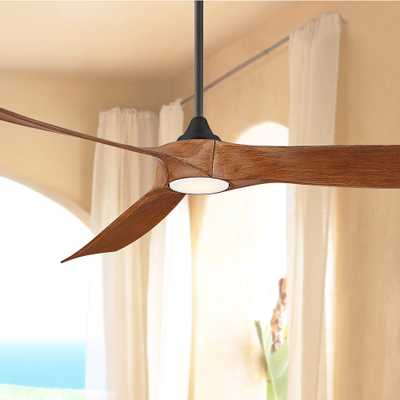 "70"" Kona Wind Black and Koa Damp Rated LED DC Ceiling Fan - Style # 79D81 - Lamps Plus"