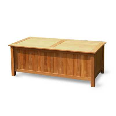 Cambridge Casual Heaton 48 Gal. Teak Wood Outdoor Storage Deck Box, Natural Teak Unfinished - Home Depot