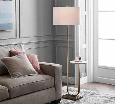 Delaney Marble Floor Lamp, Antique Brass - Pottery Barn