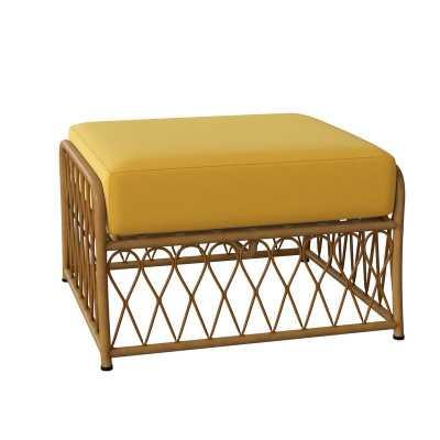 Woodard Cane Outdoor Ottoman with Cushion Cushion Color: Impact Beam Yellow - Perigold