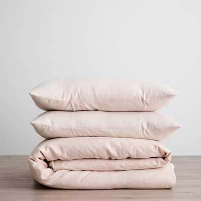 Cultiver Linen Bedding, Blush Duvet Set Twin - Lulu and Georgia