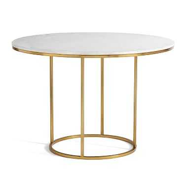 "Delaney Round Marble Pedestal Dining Table, Brass, 44"" D - Pottery Barn"