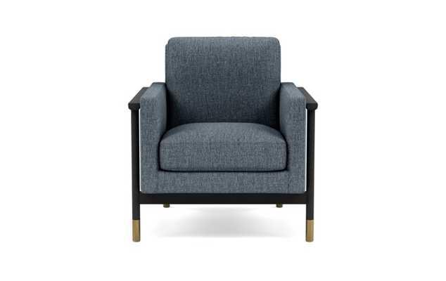 Jason Wu Petite Chair with Blue Rain Fabric and Matte Black with Brass Cap legs - Interior Define