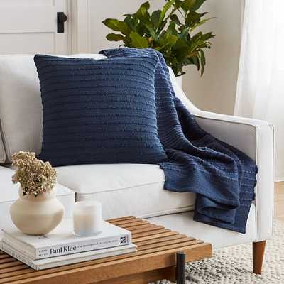 Soft Corded Pillow + Throw Set - Midnight - West Elm