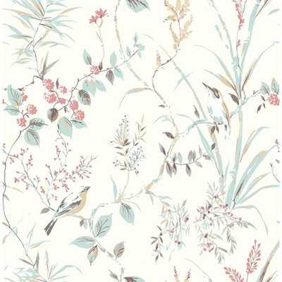Brewster 56.4 sq. ft. Mariko Cream Botanical Strippable Wallpaper, Blue - Home Depot