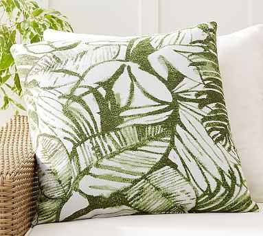 "Sunbrella(R) All Over Palm Leaf Indoor/Outdoor Pillow, 24 x 24"", Green Multi - Pottery Barn"