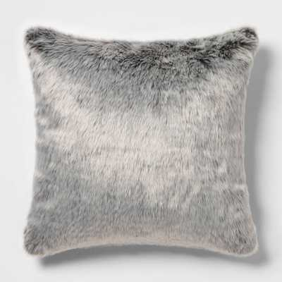 Faux Fur Oversize Square Pillow Neutral/Gray - Threshold - Target