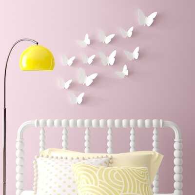 24-Piece Set Conemporary Butterfly 3D Wall Décor - Wayfair