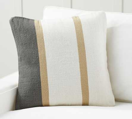 """Theo Striped Pillow Cover, 22 x 22"""", Neutral Multi - Pottery Barn"""