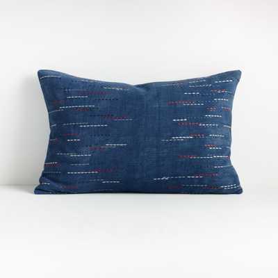 """Hira Blue Lumbar Pillow 22""""x15"""" -  down alt insert - Crate and Barrel"""