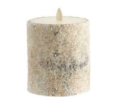 "Premium Flicker Flameless Wax Candle, Sugared Birch, 4x4.5"" - Pottery Barn"