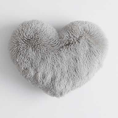 Fluffy Heart Pillow, 12x16, Stone Gray - Pottery Barn Teen