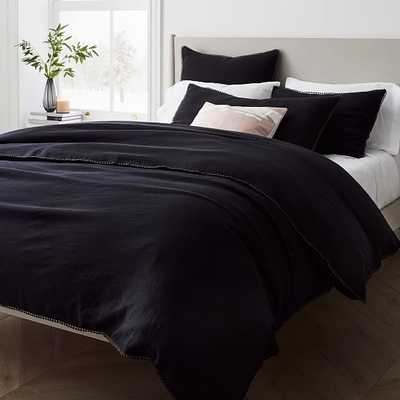 European Flax Linen Pom Pom Duvet, Full/Queen Duvet Cover, Black - West Elm